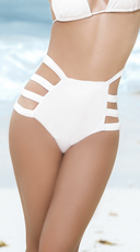Strappy High-Waisted Bikini Bottom - White