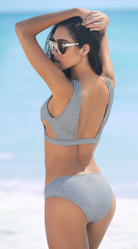 All Aboard Bikini Swimsuit - Grey