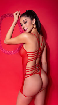Strappy Back Mesh Babydoll - Red