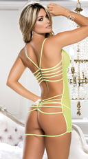 Strappy Back Mesh Babydoll - Hot Green