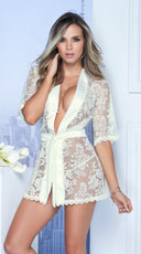 Satin and Lace Short Robe - Ivory