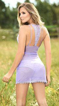 Tempting Lace Chemise Set - Lilac