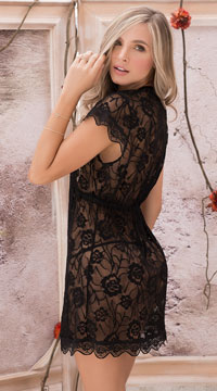 Floral Lace Robe Set - Black