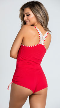 Canoodle Me Candy Cane Pajama Set - Red