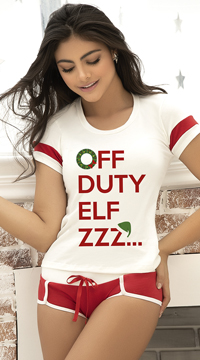 Off Duty Elf Pajama Set - Ivory/Red