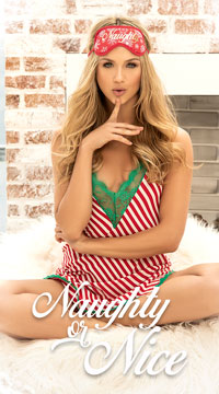Candy Cane Cutie Nightgown Set - as shown