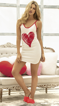 Romantic Hearts Nightgown - Ivory