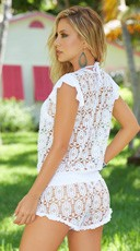 Lace Romper Cover Up - White