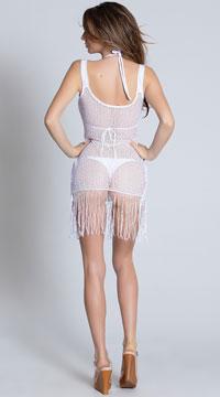 Crochet and Fringe Beach Dress - White