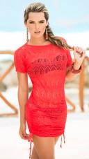 Cinch Side Beach Dress - Coral