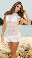 Cinch Side Beach Dress - White