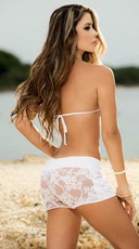 Floral Lace Short Shorts - White