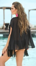 Tribal Print Fringe Cover-Up - Black