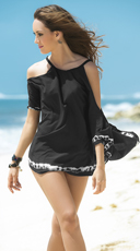 Black and White Tie-Dye Cover-Up - Black
