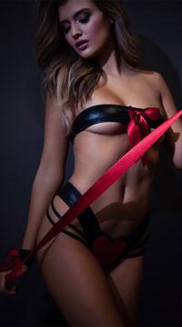 Promiscuous Faux Leather Bra Set - Black