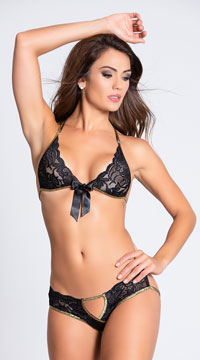 Lace Bra and Panty with Gold Trim - Black