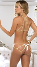 Lace Bra and Panty with Gold Trim - Ivory