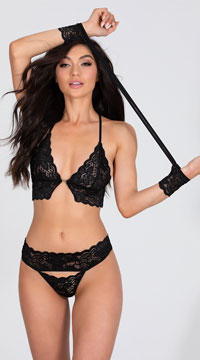 Surrender Control Bra Set - Black