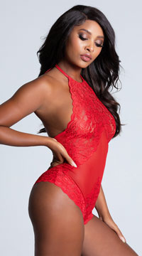 All Tied-Up Lace Teddy - Red