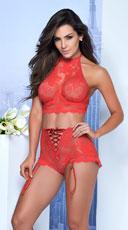Eyelash Lace Cropped Bra Set - Red
