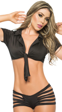 Tie Front Top - Black