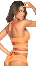 Wet Look Triangle Top - Wet Orange