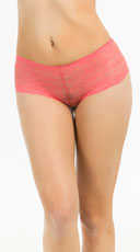 Bright Floral Lace Boyshort - Coral