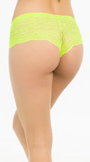 Bright Floral Lace Boyshort - Hot Green