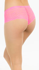Bright Floral Lace Boyshort - Pink