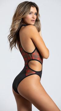 Yandy Penetrating Plaid Choker Bodysuit - Black/Plaid