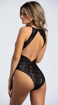 Yandy Alluring Leopard The Looker Bodysuit - Black