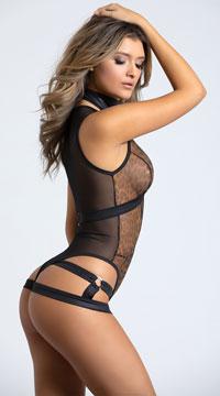 Yandy Alluring Leopard Strap Me In Bodysuit - Black