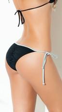 Yandy Exclusive Black and Silver Tie Side Bikini Bottom