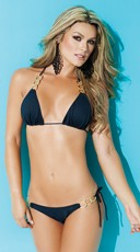 Exclusive Gold Chained String Bikini Top - Black