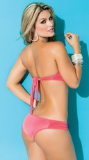 Exclusive Ruched Scalloped Bandeau Top - Coral