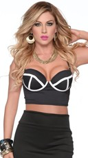 Follow The Lines Contrasting Bustier Crop Top - Black