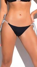 Yandy Metallic String Thong Bikini Bottom - Black/Silver