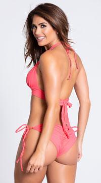 Yandy Scrunch String Bikini Bottom - Coral