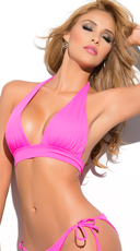 Yandy Solid Color Halter Bikini Top - Pink