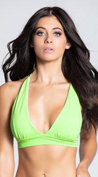 Yandy Solid Color Halter Bikini Top - Green