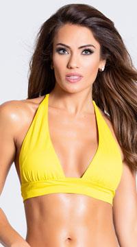 Yandy Solid Color Halter Bikini Top - Yellow