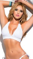 Yandy Solid Color Halter Bikini Top - White
