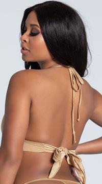Yandy Solid Color Halter Bikini Top - Gold