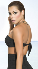Criss-Cross Bandeau Bikini Top - Black