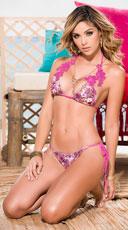 Yandy Floral Crochet String Bikini - as shown