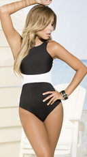 Yandy Textured One Piece Swimsuit - Black/White