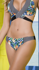 Pineapple Striped Bikini Bottom - Black