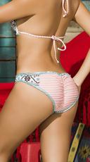 Ruffled Tribal Striped Bikini Bottom