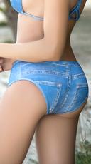 Yandy Blue Jean Bikini Bottom - Blue