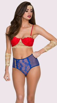 Yandy Vintage Amazonian Fantasy Lingerie Costume - Blue/Red